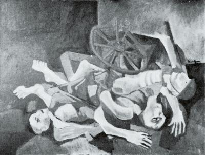 Still life with three corpses and a bicycle