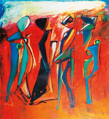 Four abstract figures on red
