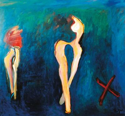 Two nudes on blue with a red X