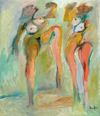 Two colourful dancing nudes
