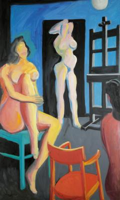 Three nudes in the studio with chair red, green