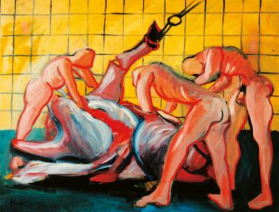 In the slaughterhouse, male nudes in front of yellow tile wall