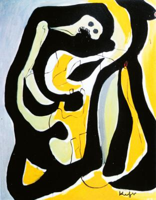 Two abstract figures on yellow, black